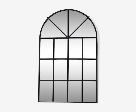 ebb1b35a8db459 Miroir fenêtre d'usine en fer forgé - fer - noir - industriel - CTISKRg