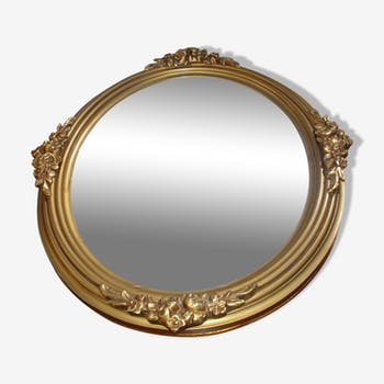 Gold Oval mirror 30 x 44 cm to scenery bloomed around 1930