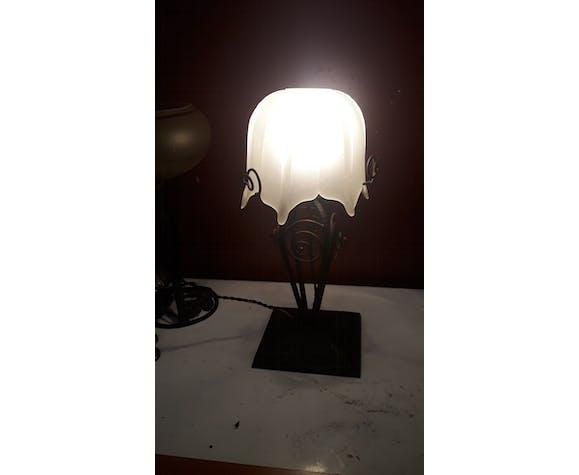 Lampe art nouveau art déco fer forgé pâte de verre Degué Era