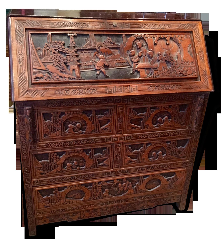 Bureau chinois sculpté bois exotique bois matériau éthnique