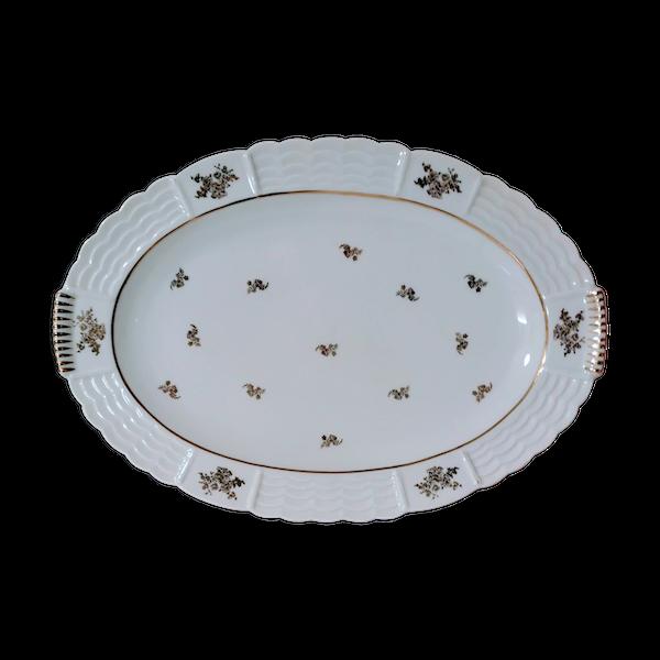 Plat de service ovale en porcelaine d'art de Limoges