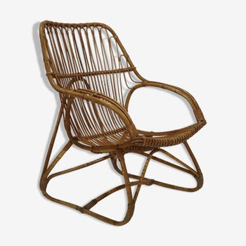 Vintage armchair in bamboo, France 1960
