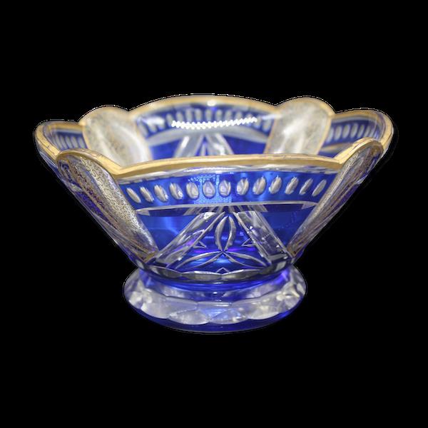 Coupe cristal bleu a decor dorés style Saint Louis