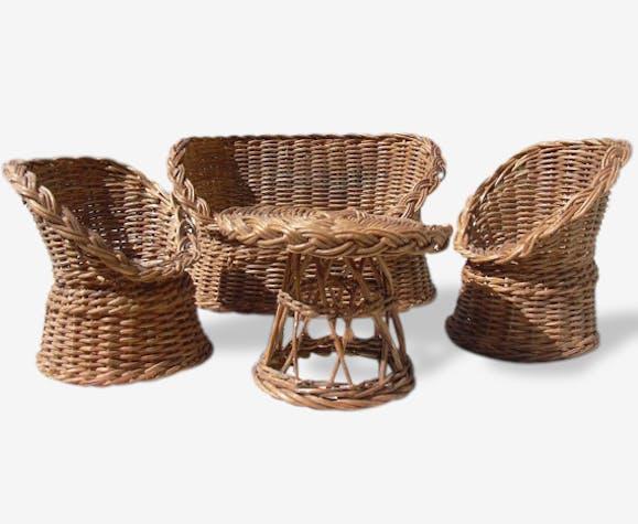 Meubles de maison de poupée en osier, chaises en rotin miniature et canapé  - rotin et osier - bon état - vintage - 14675