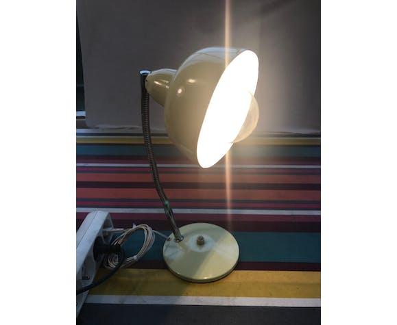 Lampe de bureau Aluminor métal beige bras flexible + globe alu années 70 vintage