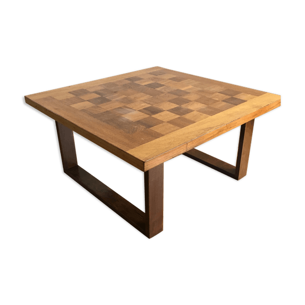 Rosewood Teak Chessboard Coffee Table