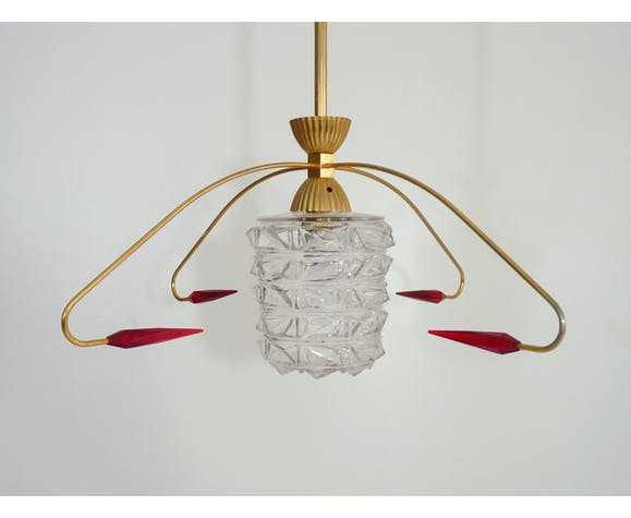 Brass chandelier with glass globe, 4 arrows | Selency