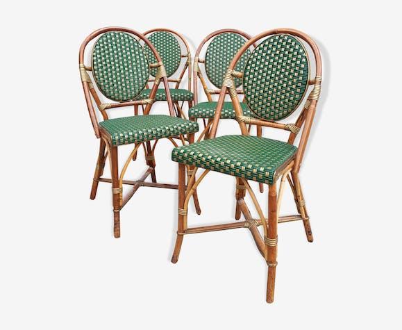 Set de 4 chaises dorées en rotin de brasserie parisienne