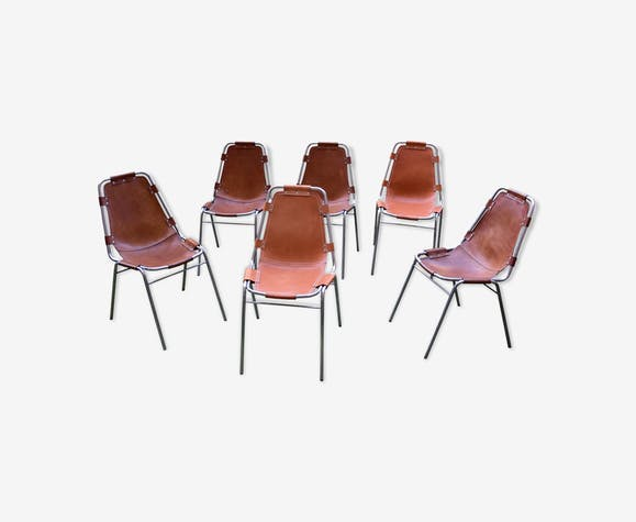 """A set of 6 chairs """"Les Arcs Chairs"""" covered in leather"""