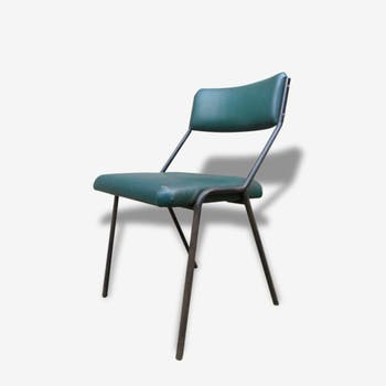 Chair in green leatherette