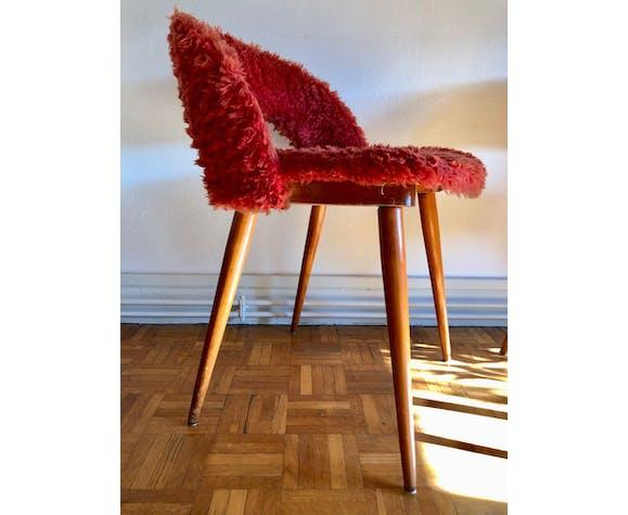 Paire de chaises moumoute terracotta