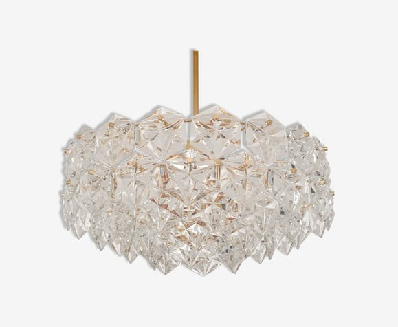Mid century crystal glass chandelier by Kinkeldey
