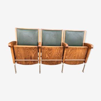 Banquette 3 sièges rabattables de cinéma assise skai vert
