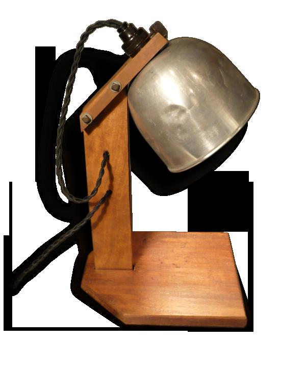 Lampe de bureau bois et métal bois matériau vintage