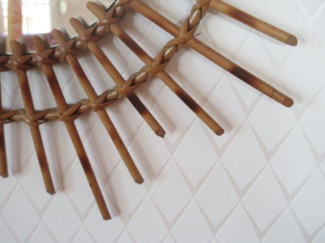 Miroir soleil vintage en bambou et rotin 56cm
