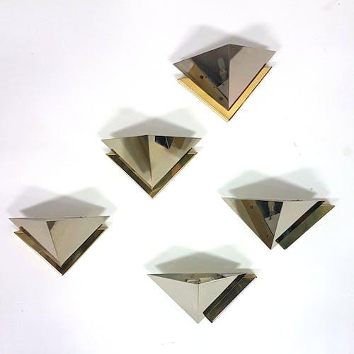 Ensemble de 5 appliques en laiton et acier par J.T. Kalmar Autriche des années 1980