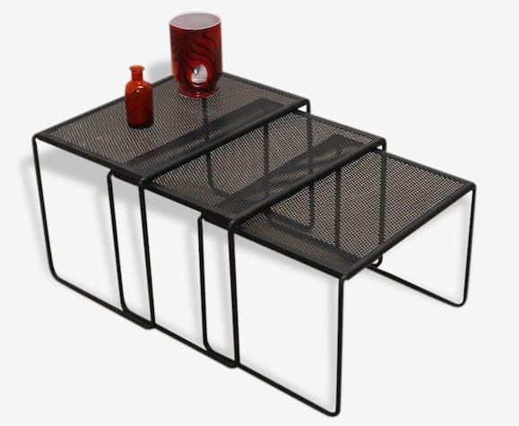 Table Gigogne Tôle Perforée Metal Black Vintage 31809