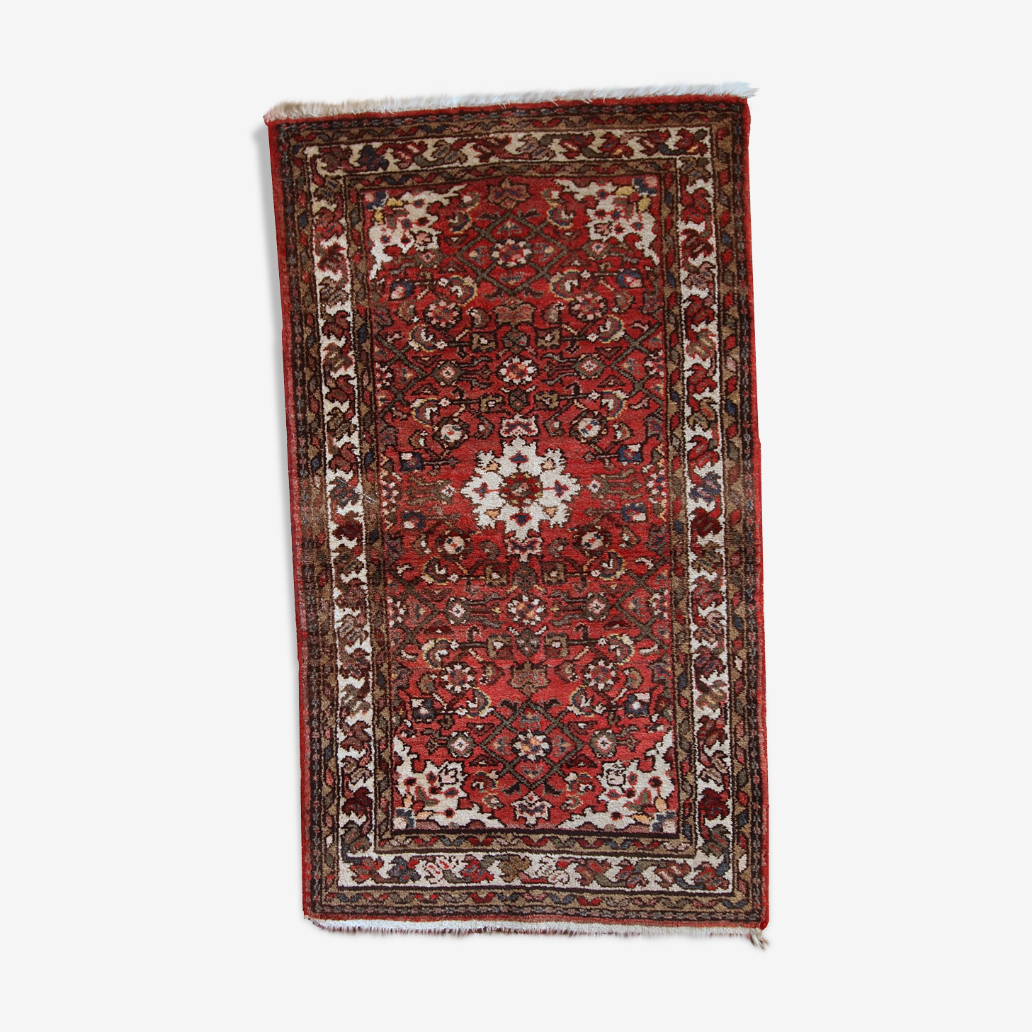Carpet vintage Persian Hamadan done hand 75 x 132 cm of the 1970s