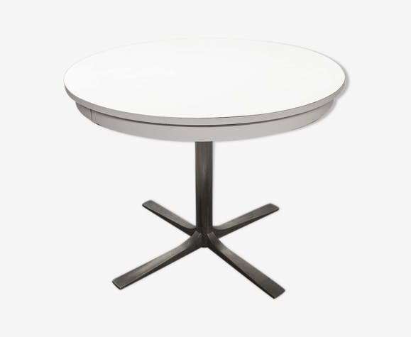 Table ronde transformable formica 70\'s pieds central ...