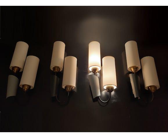 Set of 4 modernist metal & textile wall lights, 1950