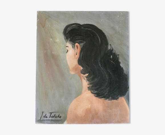 Painting, portrait of a brunette woman back, 50 years