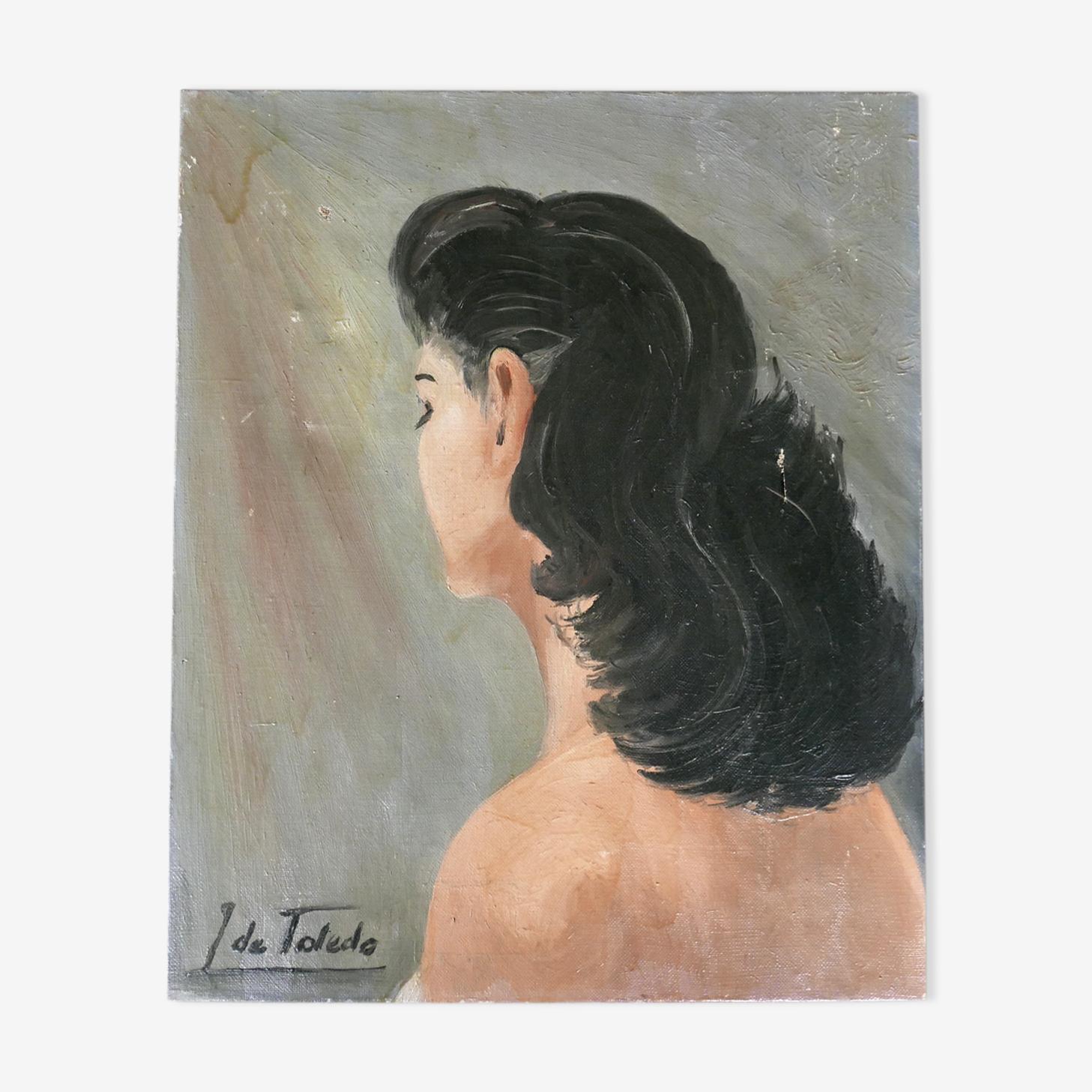 Peinture  portrait d'une femme brune de dos années 50