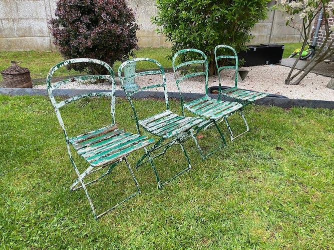4 chaises de jardin métal et bois 1930