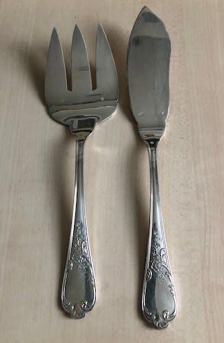 Service à poisson en métal argenté