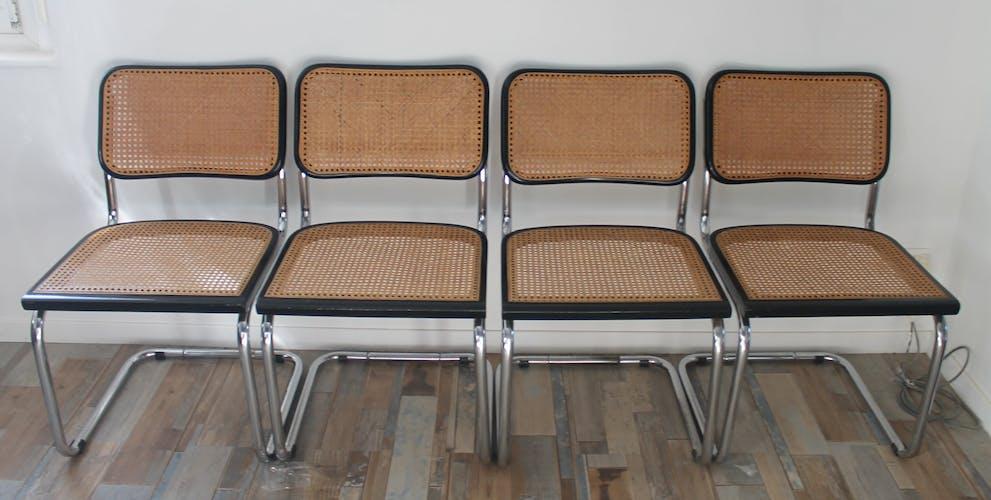Lot de 4 chaises Cesca B32 par Marcel Breuer
