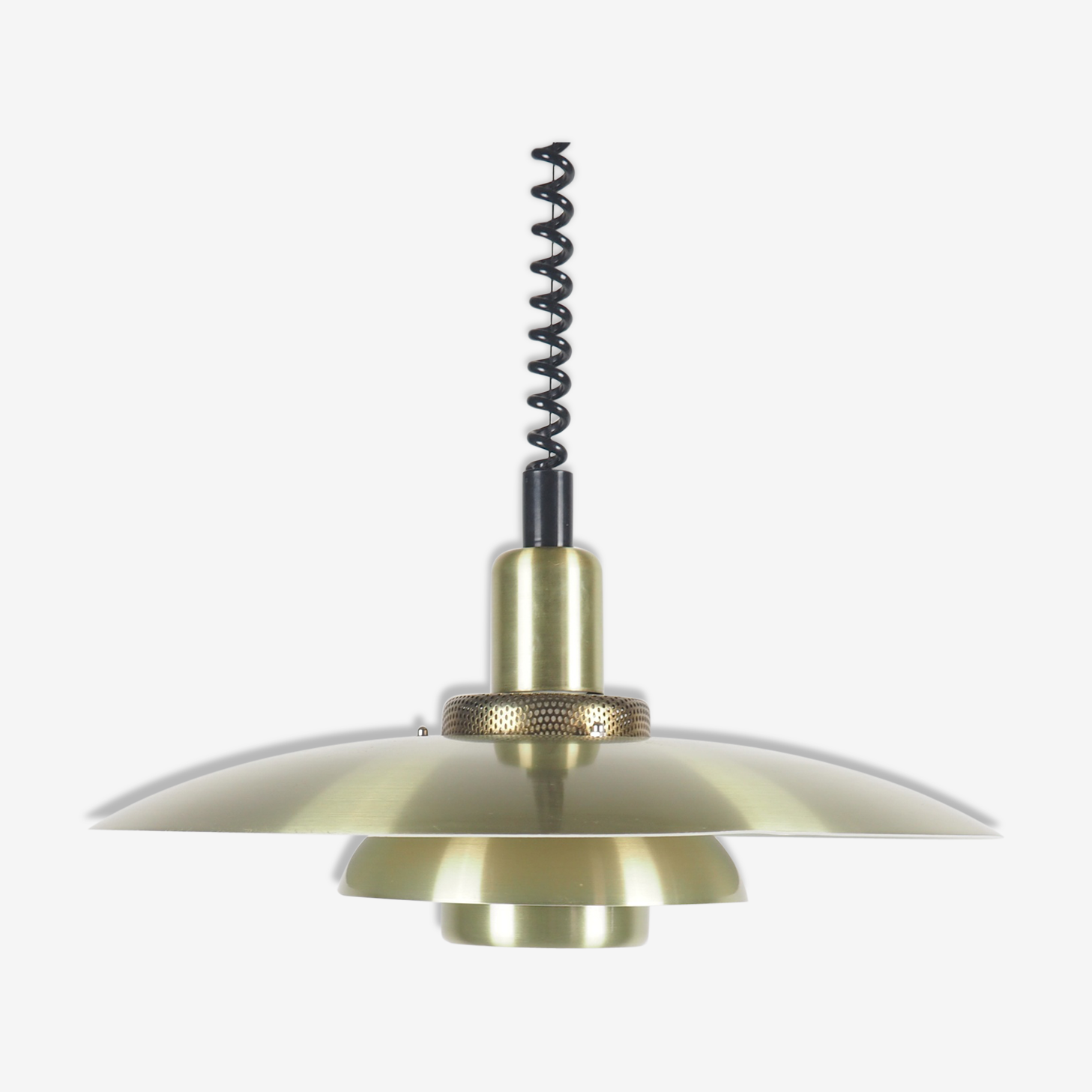 Danish brass metal hanging lamp from Lyskaer, 1970