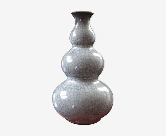 Vase chinois celadon craquelé triple gourde Chine vers 1950