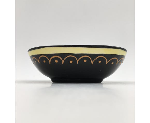 Enamelled earthenware catchall HB Quimper -  beaded, signed and numbered décor - 1960s