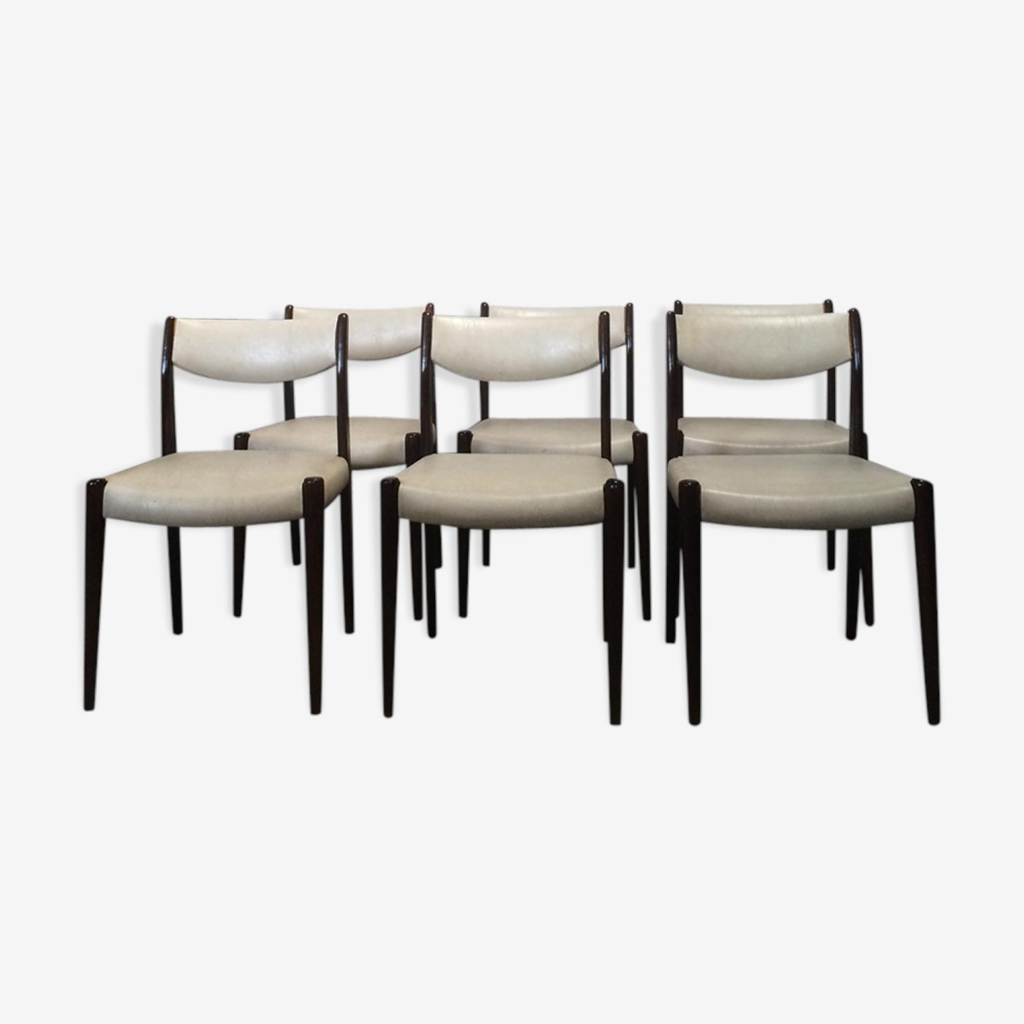 Suite de 6 chaises scandinaves en skai blanc vintage des années 50-60