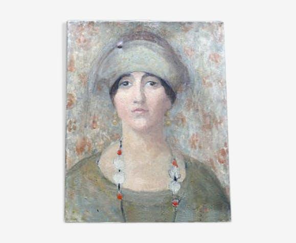 Tableau portrait femme au sautoir huile sur toile attribuée à G.Grenthe