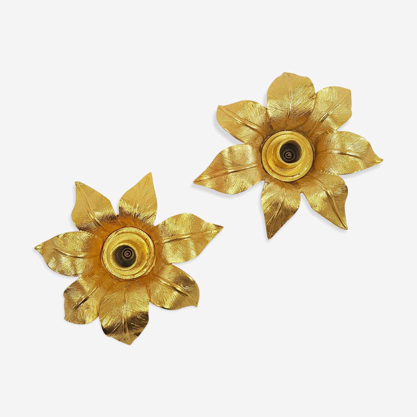 Pair of candlesticks golden flower Les Collectionnables de Berger