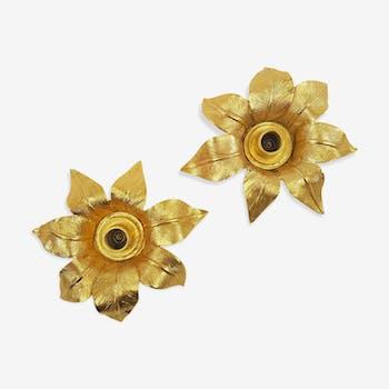 Paire de bougeoirs doré fleur Les Collectionnables de Berger