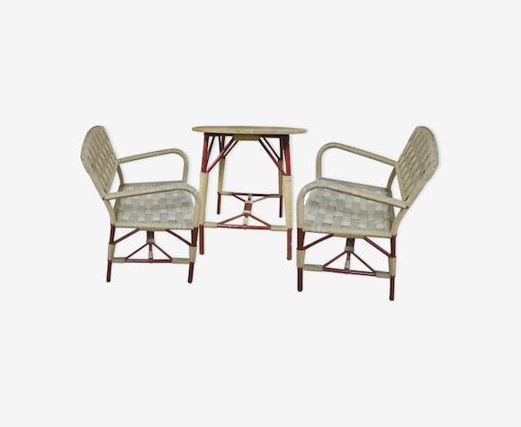 ensemble de jardin chaises et table ronde art d co wicker. Black Bedroom Furniture Sets. Home Design Ideas