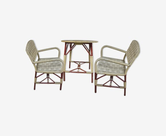 Garden Chairs And Table Set Round Art Deco Wicker 1930