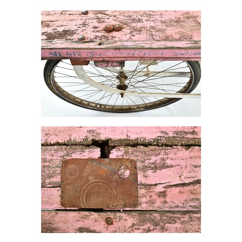 Pink patinated wooden cart