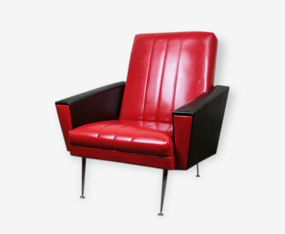 fauteuil vintage ann es 50 60 rouge et noir ska pieds fusel s laiton ska rouge vintage. Black Bedroom Furniture Sets. Home Design Ideas