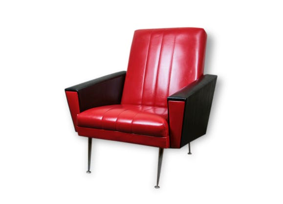 fauteuil vintage ann es 50 60 rouge et noir ska pieds fusel s laiton ska rouge vintage. Black Bedroom Furniture Sets. Home Design Ideas