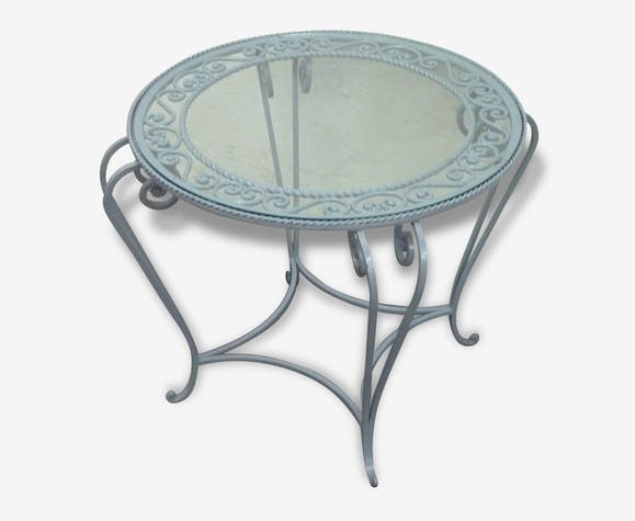 table ronde en fer forg grise et plateau en verre des ann es 1950 m tal gris vintage 30845. Black Bedroom Furniture Sets. Home Design Ideas