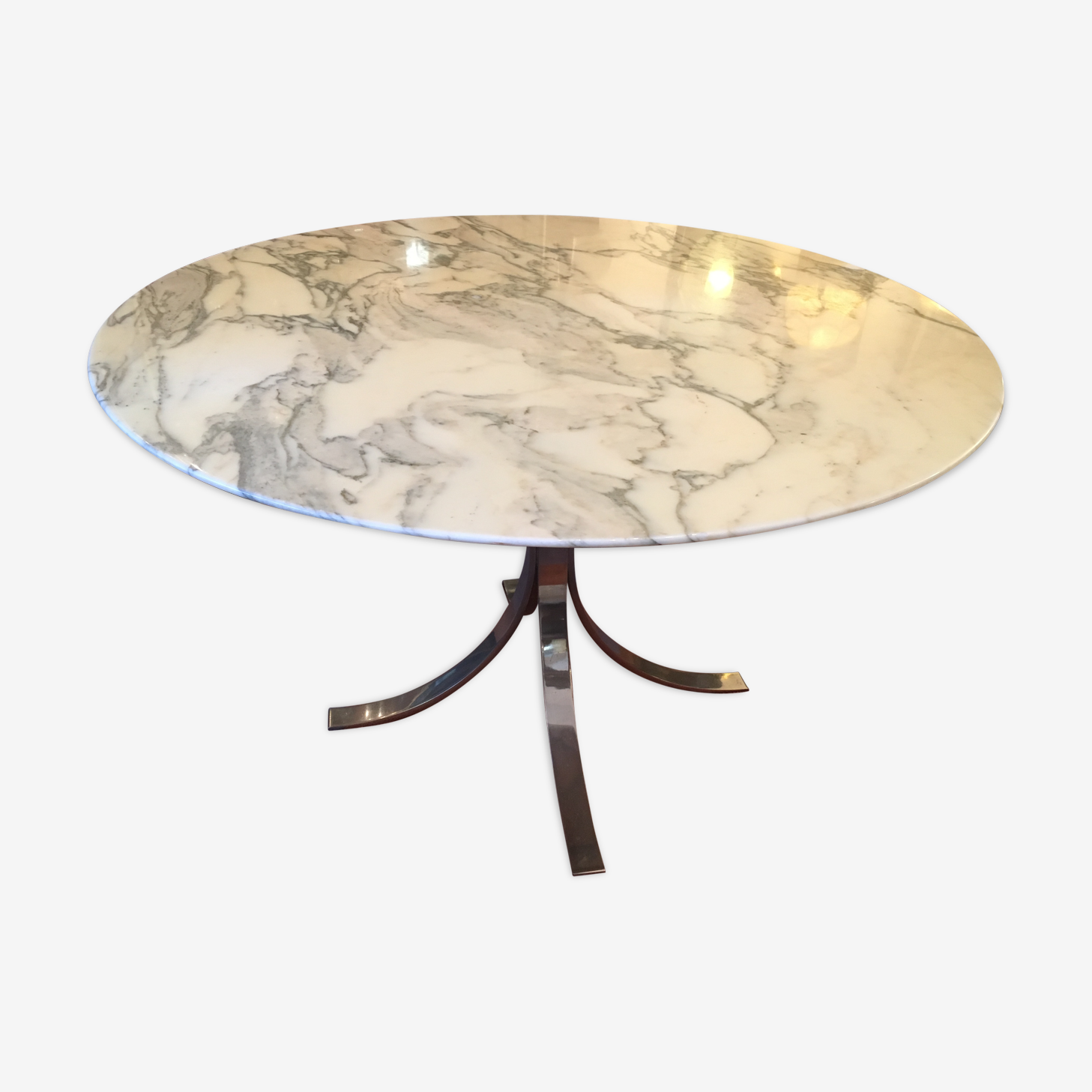 Marble table and stainless steel base