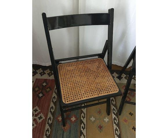 Paire de chaises pliantes cannées