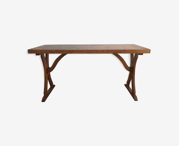 Table de chalet en chêne vintage 1970