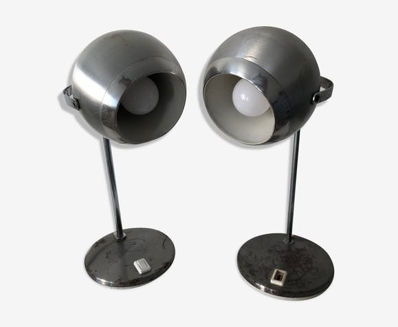 Paire lampes eyeball acier aluminor vintage 1970