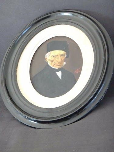 Portrait homme notable cadre ovale signé 1865