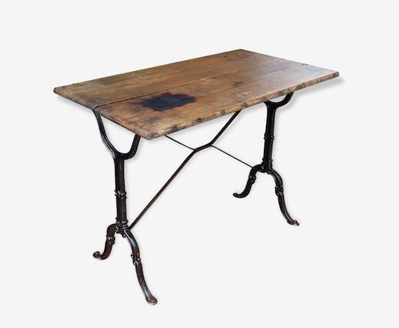 table bistrot tr s ancienne bois et fonte fonte bois couleur classique 85901. Black Bedroom Furniture Sets. Home Design Ideas