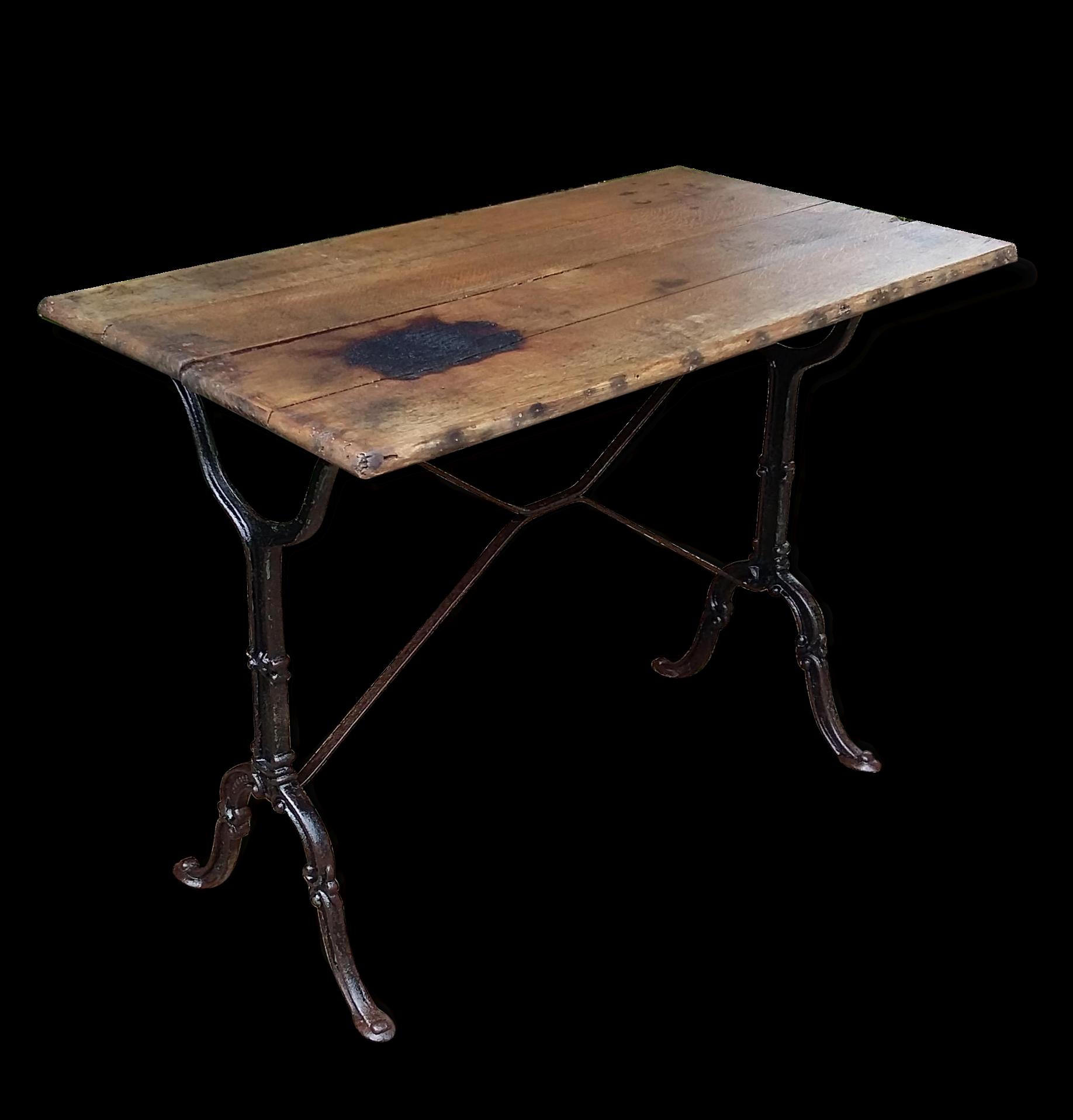 Table Bistrot Très Ancienne , Bois Et Fonte