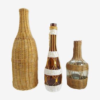 Set 3 bottles wicker and scoubidou